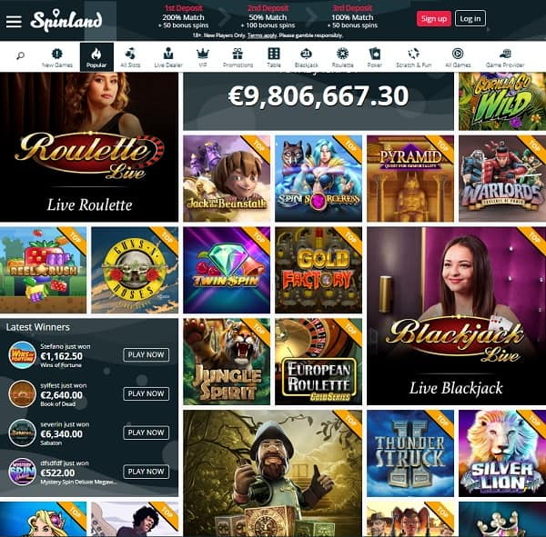 Spinland Casino Review | $/€3,500 free bonus and 200 bonus spins