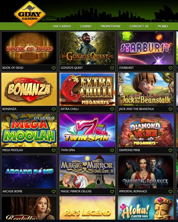 GDay Casino Review | 60 free spins + $/€/500 exclusive welcome bonus
