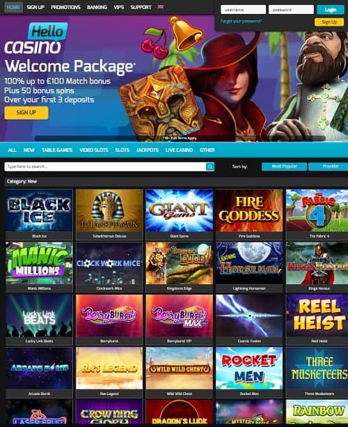 Hello Casino Review   60 free spins plus $/€ 500 exclusive free bonus