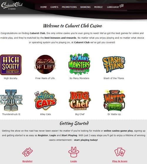 Cabaret Club Casino free spins bonus review