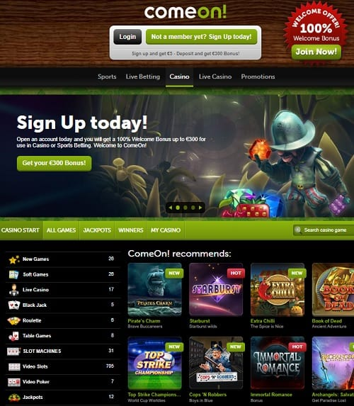 ComeOn Casino Review | €5 no deposit bonus and €300 WB free spins
