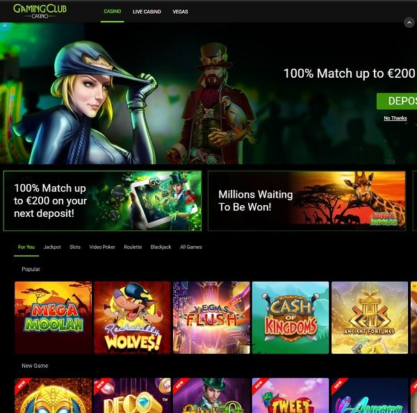 Gaming Club Casino Review & Exclusive Promotions