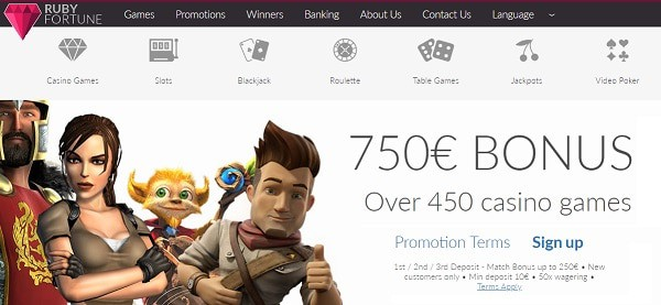 Ruby Casino 750 EUR and 100 free spins
