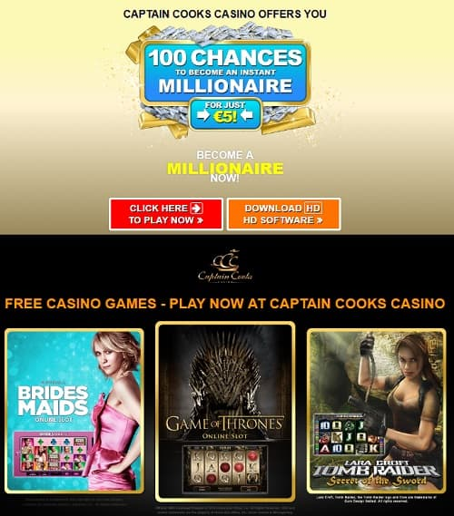 Captain Cooks Casino Review: 100 free spins on Mega Moolah jackpot