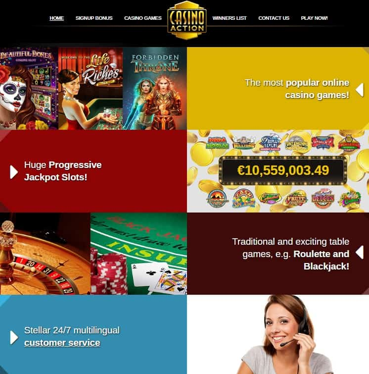 Casino Action Review: 150 free spins + 300% up to €1,250 free bonus