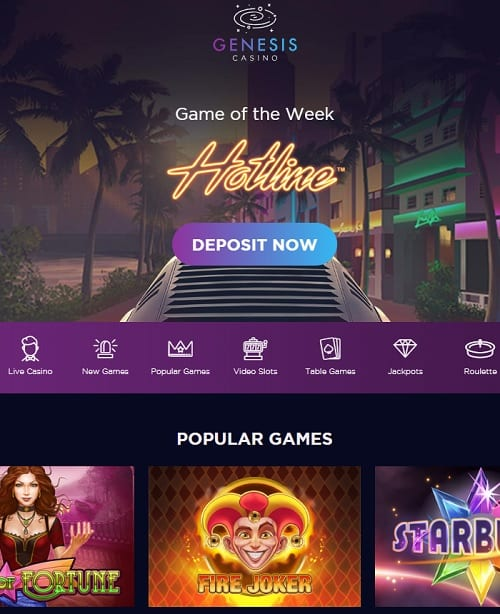 Genesis Casino Review 300 free spins and $/€/£1,000 welcome bonus