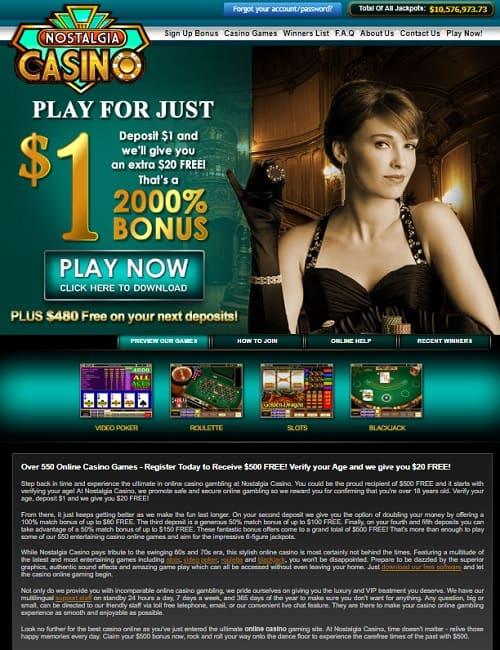 Nostlagia Casino Review: buy €1 get €20 free + 100 free spins bonus