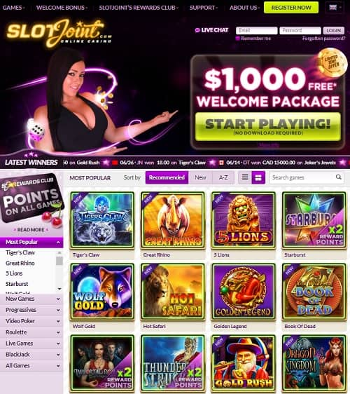 SlotJoint Casino Review $1,000 free bonus and 5 free spins no deposit