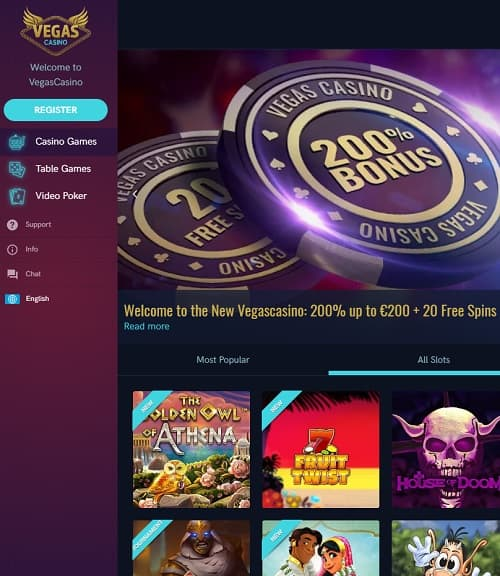 Vegas Casino Review 300 free spins and 200% up to €200 gratis bonus