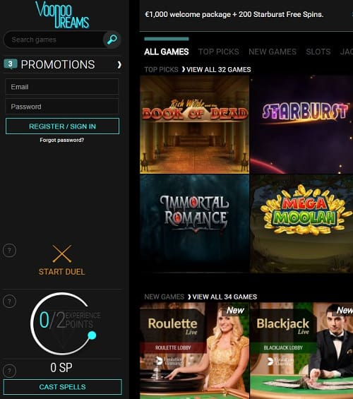 Voodoo Dreams Casino Review: 220 free spins and 1,000 free bonus