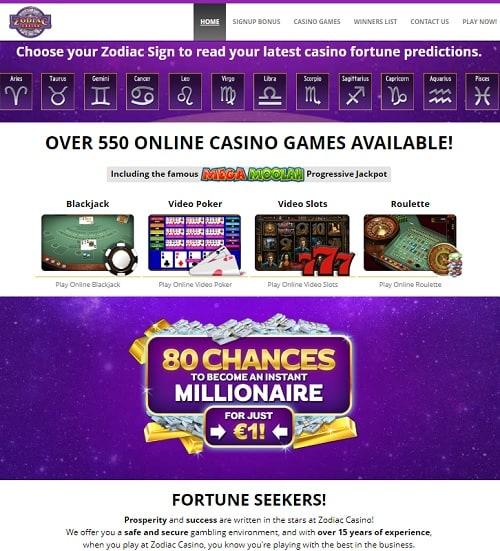 Zodiac Casino Review 80 free spins and €480 free bonus - Mega Moolah