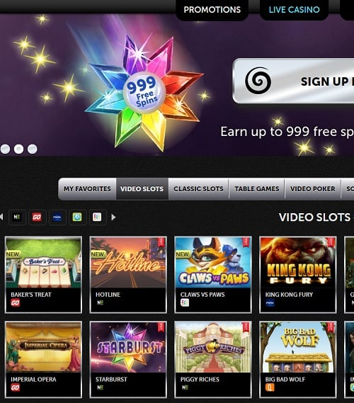 Spinson Casino Review: 100% up to €500 bonus or 999 free spins