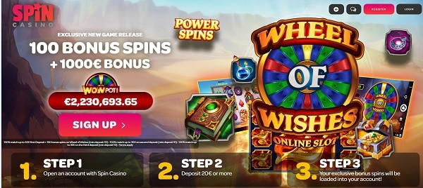 100 free spins in Wheel of Wishes game