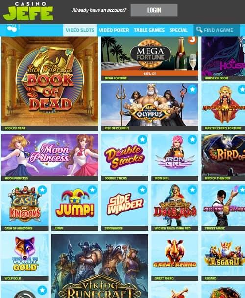 Casino JEFE Review | 11 no deposit FS + €275 bonus or 252 free spins