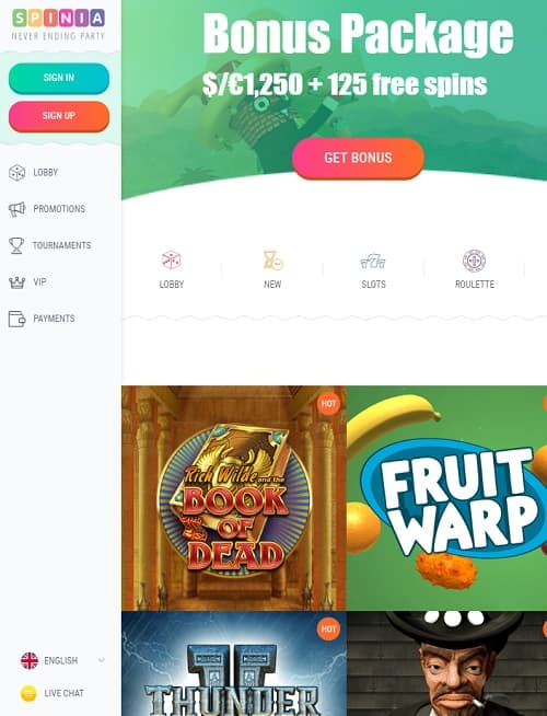 Spinia Casino Review: 125 free spins and €/$1250 bonus on deposit
