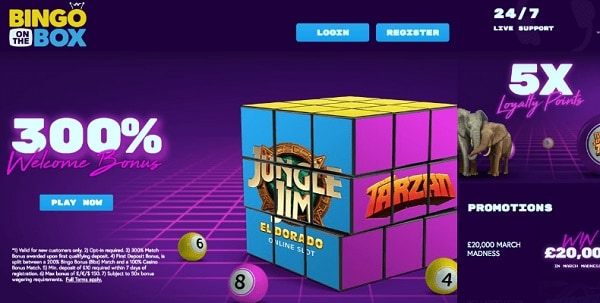 Bingo on the Box 300% welcome bonus