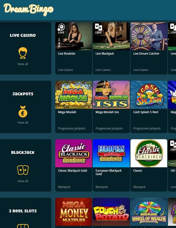 Dream Bingo Casino Review   300% welcome bonus and Free Spins