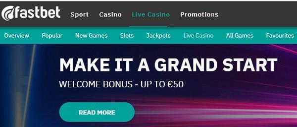 FastBet Casino welcome bonus