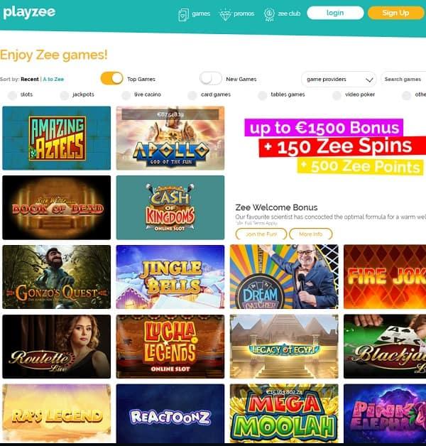 Playzee Casino Review €1500 bonus + 150 Zee Spins + 500 Zee Poins