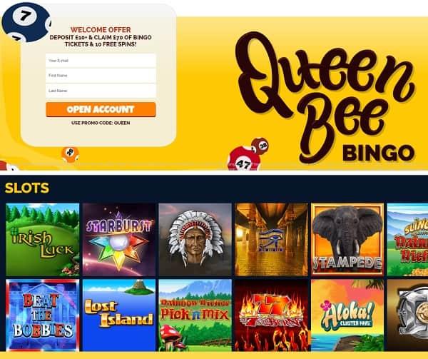 Queen Bee Bingo Casino Review: 10 free spins + £70 no wager bonus