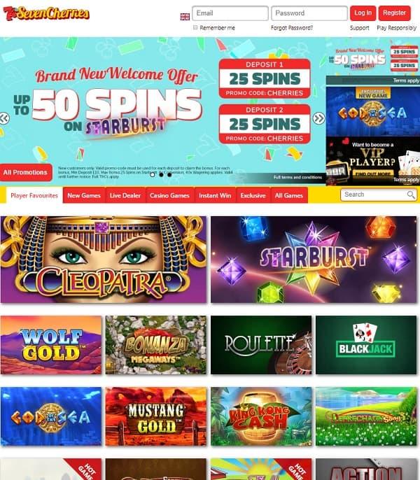 Seven Cherries Casino Review: 50 free spins on Starburst - bonus code