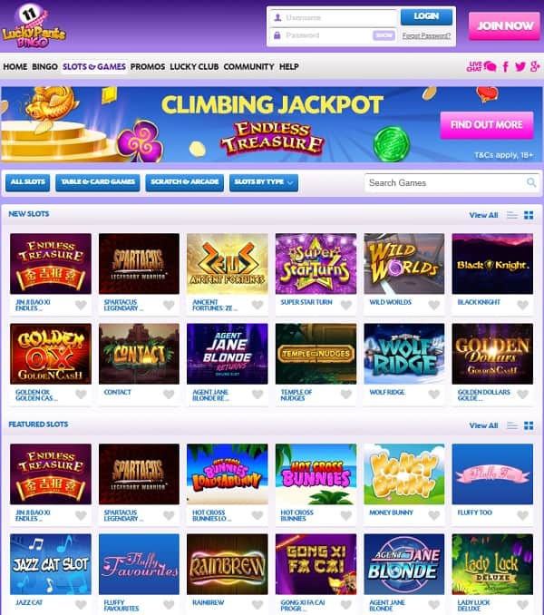 Lucky Pants Bingo Review: 100 free spins and 100% bonus on slots