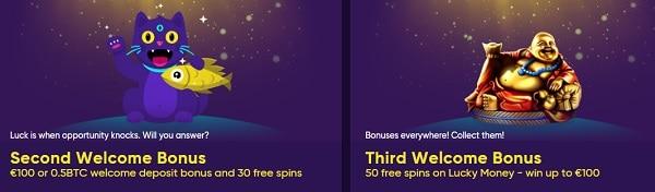 Make 2nd deposit and claim 50% bonus and 30 free spins plus 50 free spins on 3rd deposit