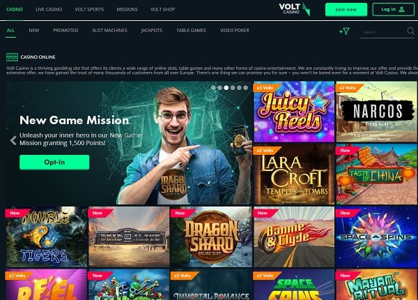 Volt Casino Review | 120 Free Spins no-wager bonus on first deposit