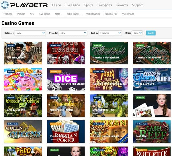 Playbetr Casino Review   185% up to $3750 bonus and 10 free spins