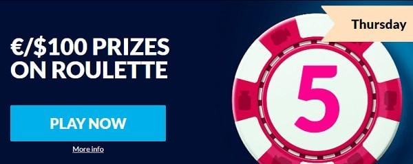 $100 Roulette Bonus