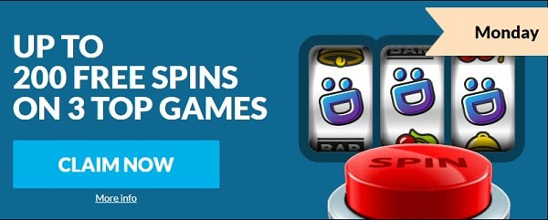 200 Free Spins on 3 slots