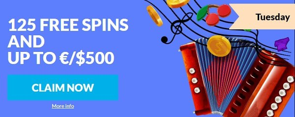 125 free spins and $500 reload bonus