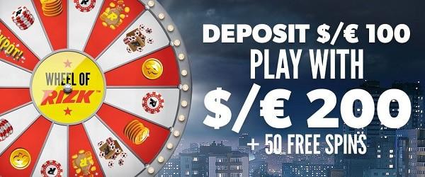 100% bonus and 50 gratis spins