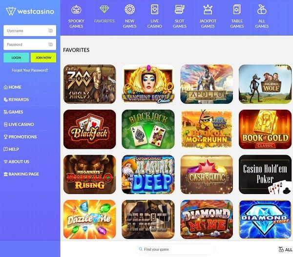 West Casino Free Spins Bonus
