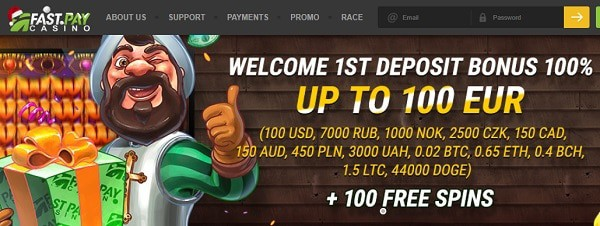 Fastpay New Player Bonus: 100% up to 100 EUR and 100 free spins