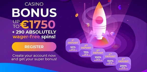 Welcome Bonus Offer: 290 free spins and 1,750 EUR gratis
