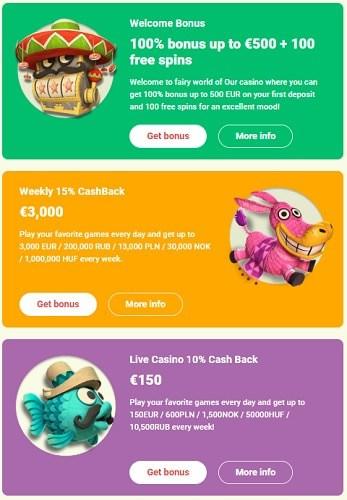 Claim Free Bonus: 100 FS and 500 EUR
