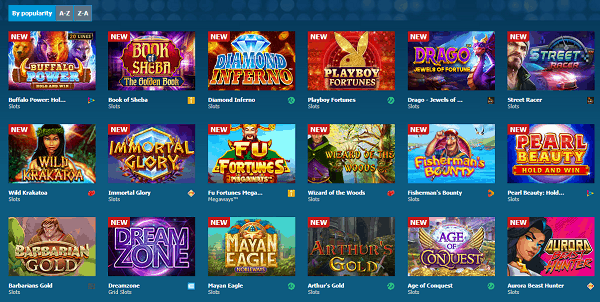 Exclusive slots and table games