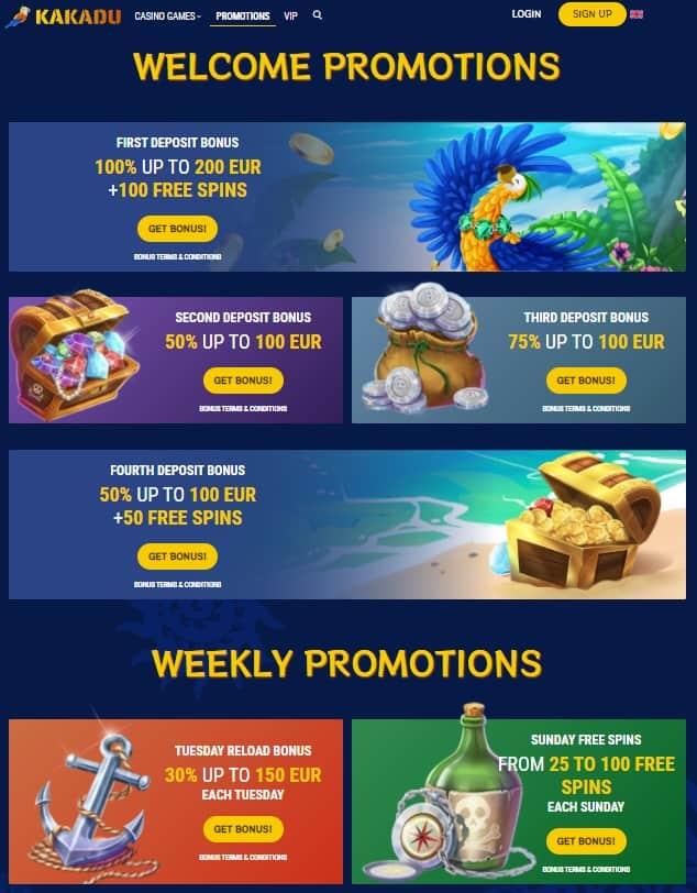 Kakadu Casino Free Spins Bonuses